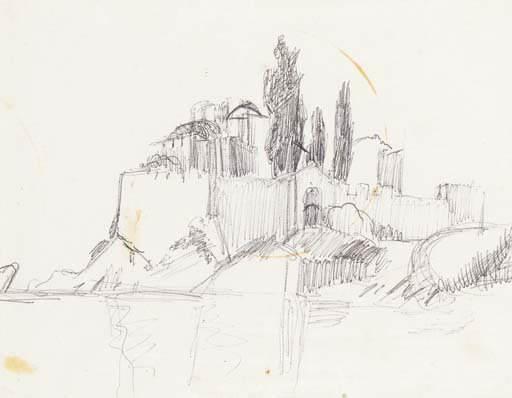 Derek Hill-sketch of st Basils Church Athos