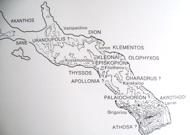 Athos - antique map with cities