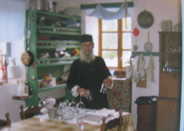 monk in kitchen