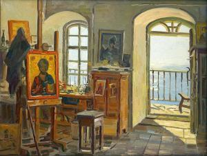 Aleksei-evstigeniev-an-icon-painting-studio-on-mount-athos-1997