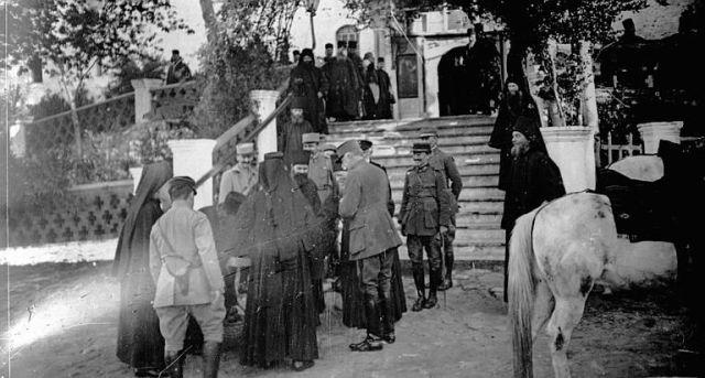 Athos 1914-18 Le général Sarrail et l'Amiral des Vignaux dans les bois du Mont Athos 2