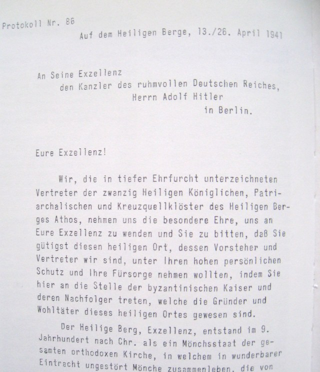 Copy of letter to Hitler 26 4 1941