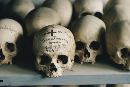 The inscribed skull of a priest at St. Anne's monastic community.