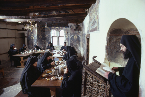 Meals are simple and solemn as monks eat soup, olives, bread and wine.