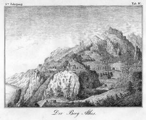 Engraving Athos mountain 1832