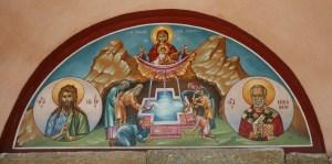 034 Stavronikita fresco above door