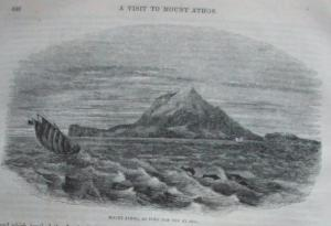 Engraving Athos from the sea 1863