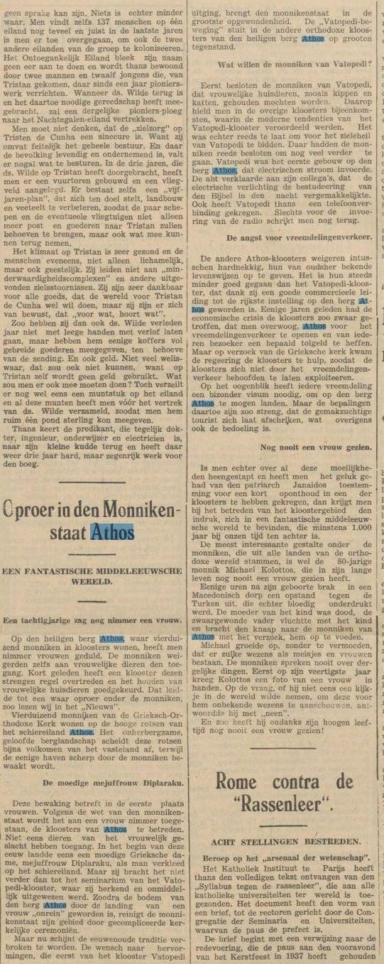 1938 23-05-1938 de Sumatra Post artikel vrouw op athos