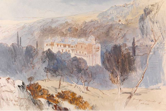 Edward Lear - Monastery of Konstamonitou, 1856. Pen, brown ink and watercolour with bodycolour on buff paper