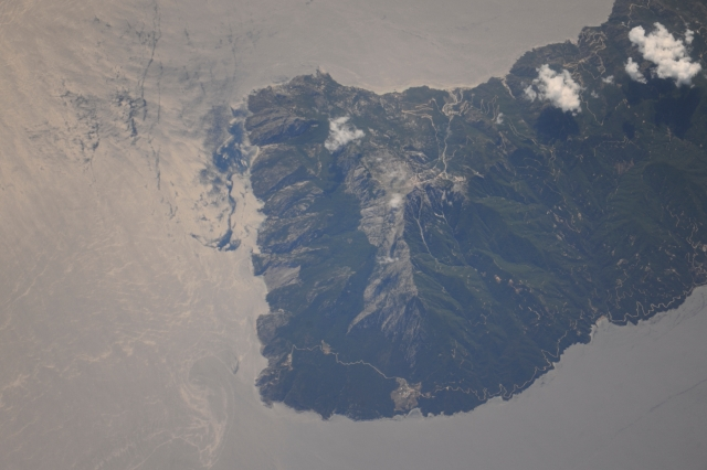 athos peak from space