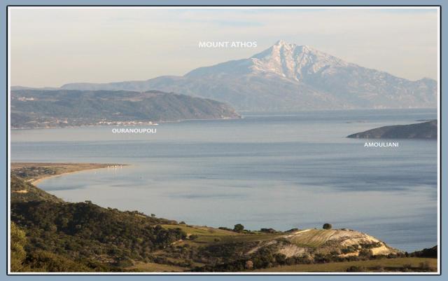 Mountain Amouliani and Ouranopolis