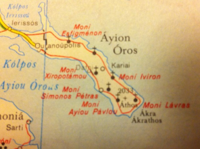 map Athos with road