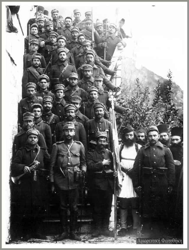 old picture military on stairs