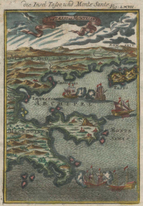 "4""Is. de Tasso et Montesanto"" hand coloured copper-engraving of Chalkidiki, Mount Athos, Thasos & mainland by Alain Manesson MALLET, 1686,1719 German ed."