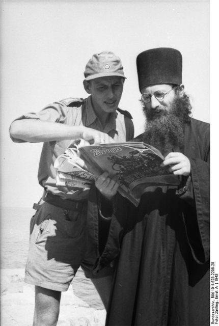 WWII soldier and monk with magazine 2