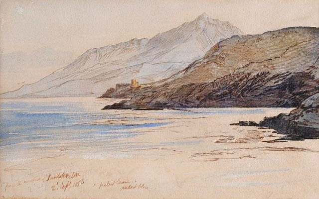 Lear (1812-1888), 'FROM THE WINDOW, PANTOKRATORA' Inscribed with colour notes and dated '2nd September 1856', pen and ink and watercolour 14.5 x 23cm