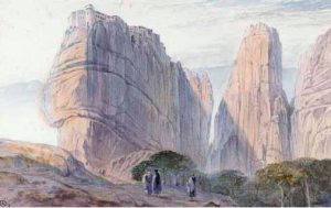 Lear drew in May 1849 whilst visiting the monasteries of Meteora in central Greece