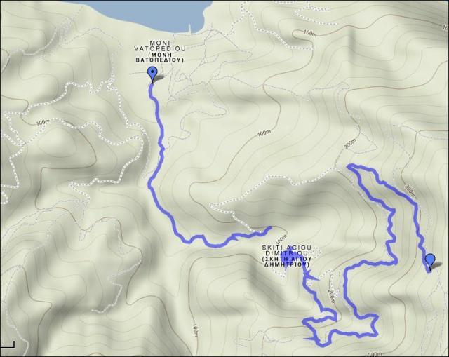 map 2 Vatopedi - Skiti Dimitriou 1