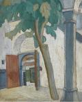 p a monastic courtyard
