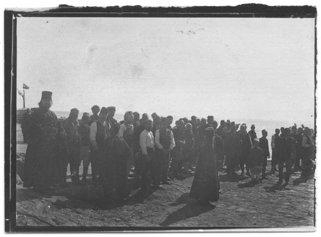 Débarquement au Mont Athos 9x6,5cm Voyage 1909kopie