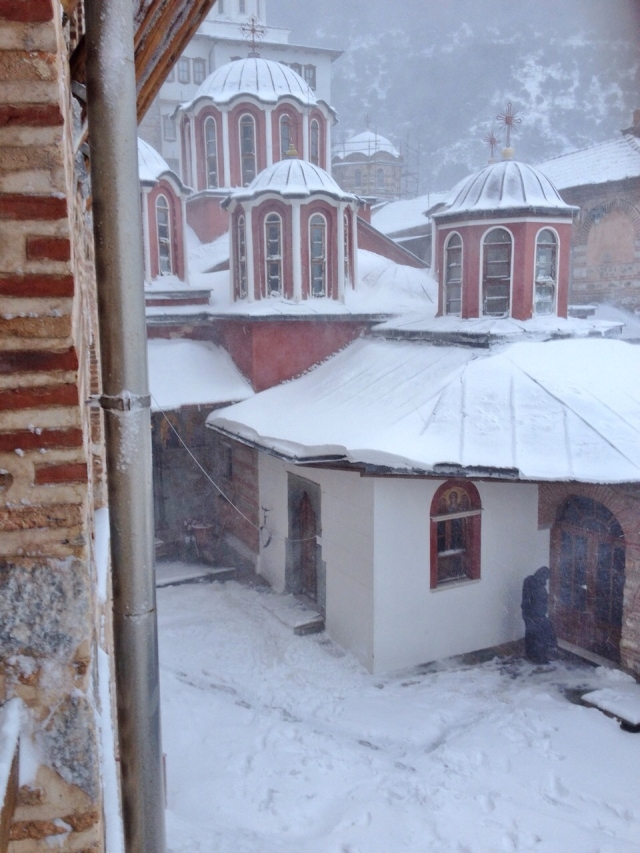 dionysiou courtyard in the snow
