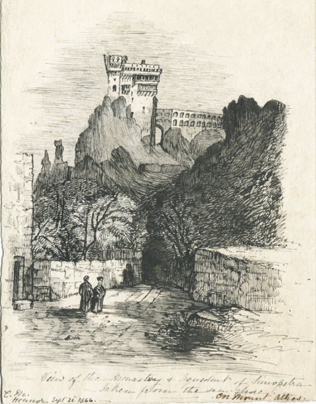 Claude 1866 Spero Pen and Ink Drawing, Monastery of Simopetra on Mount Athos