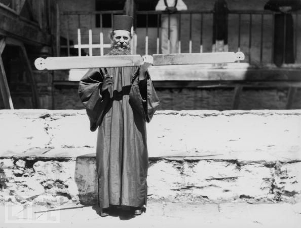 Life Brown Getti Images 1937 Athos monk with semantron