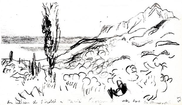Sketch of mount Athos from the hotel Karyes Origin JEANNERET 1911 samen met le corbusier
