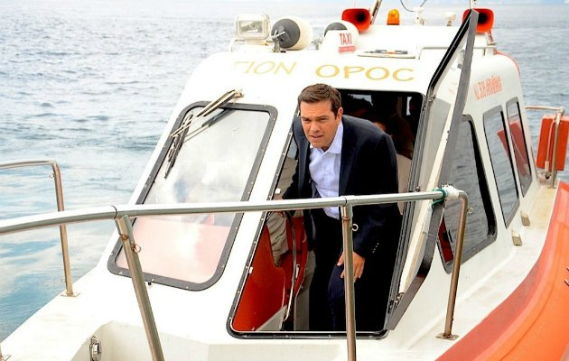 tsipras visiting mount athos 2014
