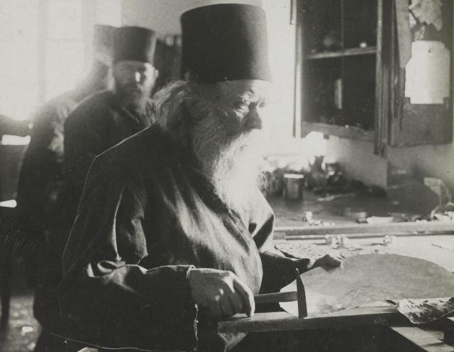 1917-18 french photo album aviateur Panteleimonos monks leather workshop 17b