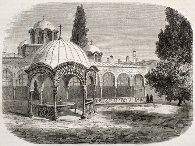 Gravure great-lavra-monastery-with-baptistry-old-illustration-mount-athos-greece-created-by-lancelot-after-p