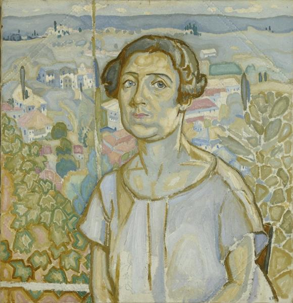 The portrait of Olga Papalouka with Karyes as background jpeg
