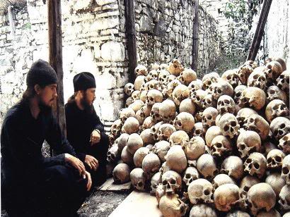 Vatopedi_Monastery Monks and Skulls